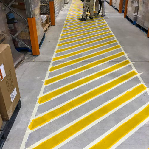 Floor Markings in Christchurch using Dulux Road Master from MJS Painters