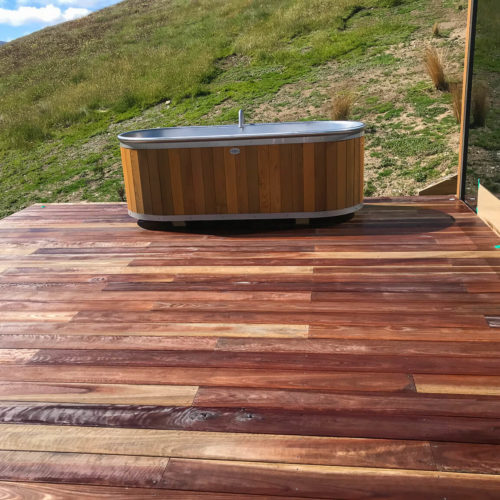 MJS Painters applied non slip clear coat on decking timber at the Lindis Lodge Pods
