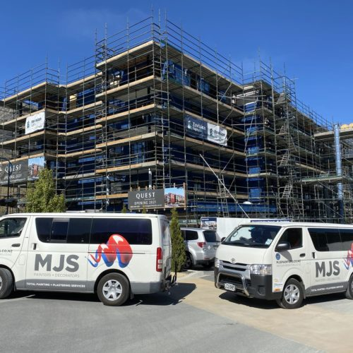 An in construction shot of the Quest Apartments in Wanaka, Queenstown where we did interior and exterior painting